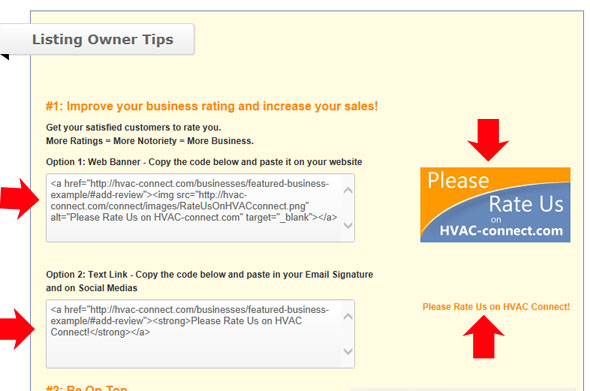 Custom html code to encourage ratings of your company on HVAC Connect