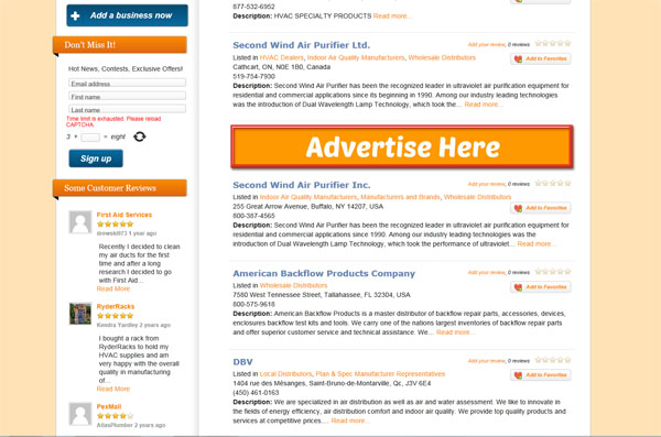 HVAC Banner Advertising on HVAC-Connect.com