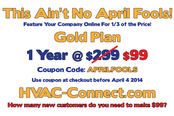 April Fools Promotion 2014 on HVAC-Connect.com